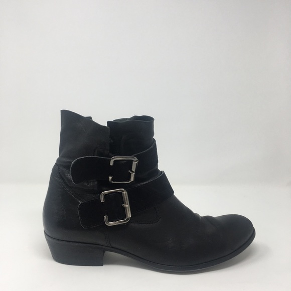 b8f4ee83388ec Paul Green Shoes | Black Buckle Leather Ankle Boots 9 | Poshmark